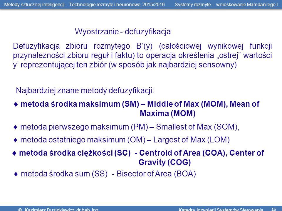 Metody sztucznej inteligencji - Technologie rozmyte i neuronowe 2015/2016 Systemy rozmyte – wnioskowanie Mamdani'ego I © Kazimierz Duzinkiewicz, dr hab.