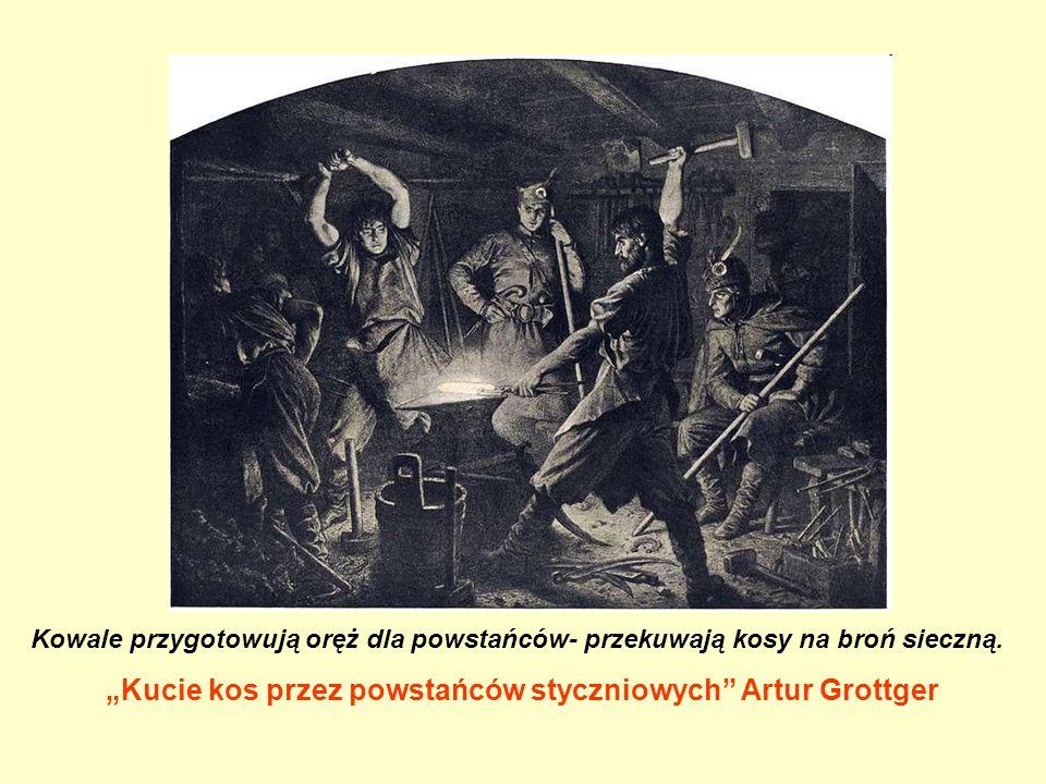 """Kowale przygotowują oręż dla powstańców- przekuwają kosy na broń sieczną. """"Kucie kos przez powstańców styczniowych"""" Artur Grottger"""
