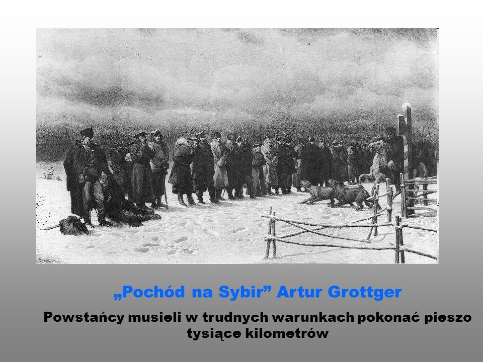 """""""Pochód na Sybir"""" Artur Grottger Powstańcy musieli w trudnych warunkach pokonać pieszo tysiące kilometrów"""
