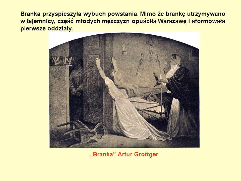 """""""Branka"""" Artur Grottger Branka przyspieszyła wybuch powstania. Mimo że brankę utrzymywano w tajemnicy, część młodych mężczyzn opuściła Warszawę i sfor"""
