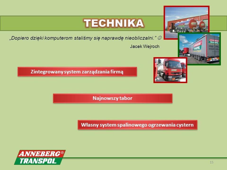 """15 Jacek Wejroch Najnowszy tabor Zintegrowany system zarządzania firmą Własny system spalinowego ogrzewania cystern """"Dopiero dzięki komputerom staliśmy się naprawdę nieobliczalni."""