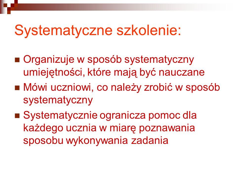 Systematyczne szkolenie: Organizuje w sposób systematyczny umiejętności, które mają być nauczane Mówi uczniowi, co należy zrobić w sposób systematyczn