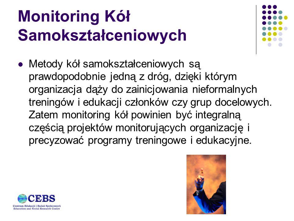 Monitoring Kół Samokształceniowych Metody kół samokształceniowych są prawdopodobnie jedną z dróg, dzięki którym organizacja dąży do zainicjowania nieformalnych treningów i edukacji członków czy grup docelowych.