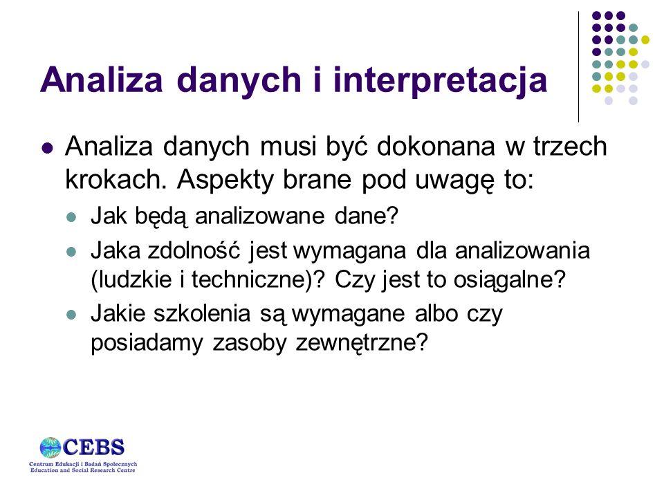 Analiza danych i interpretacja Analiza danych musi być dokonana w trzech krokach.