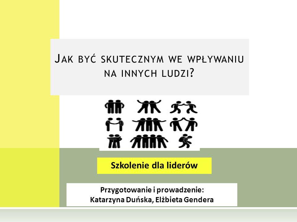 Przygotowanie i prowadzenie: Katarzyna Duńska, Elżbieta Gendera Szkolenie dla liderów J AK BYĆ SKUTECZNYM WE WPŁYWANIU NA INNYCH LUDZI ?