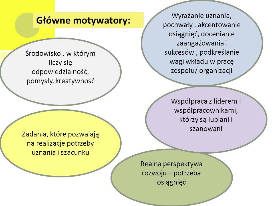 Główne motywatory: Zadania, które pozwalają na realizacje potrzeby uznania i szacunku Realna perspektywa rozwoju – potrzeba osiągnięć Wyrażanie uznania, pochwały, akcentowanie osiągnięć, docenianie zaangażowania i sukcesów, podkreślanie wagi wkładu w pracę zespołu/ organizacji Współpraca z liderem i współpracownikami, którzy są lubiani i szanowani Środowisko, w którym liczy się odpowiedzialność, pomysły, kreatywność