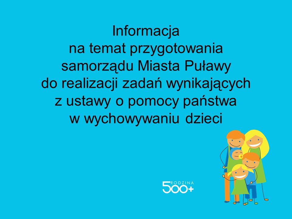 Informacja na temat przygotowania samorządu Miasta Puławy do realizacji zadań wynikających z ustawy o pomocy państwa w wychowywaniu dzieci