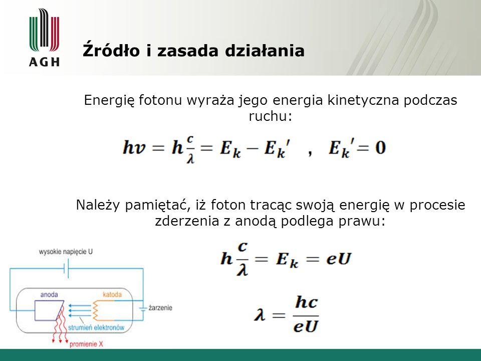 Źródło i zasada działania Energię fotonu wyraża jego energia kinetyczna podczas ruchu: Należy pamiętać, iż foton tracąc swoją energię w procesie zderzenia z anodą podlega prawu: