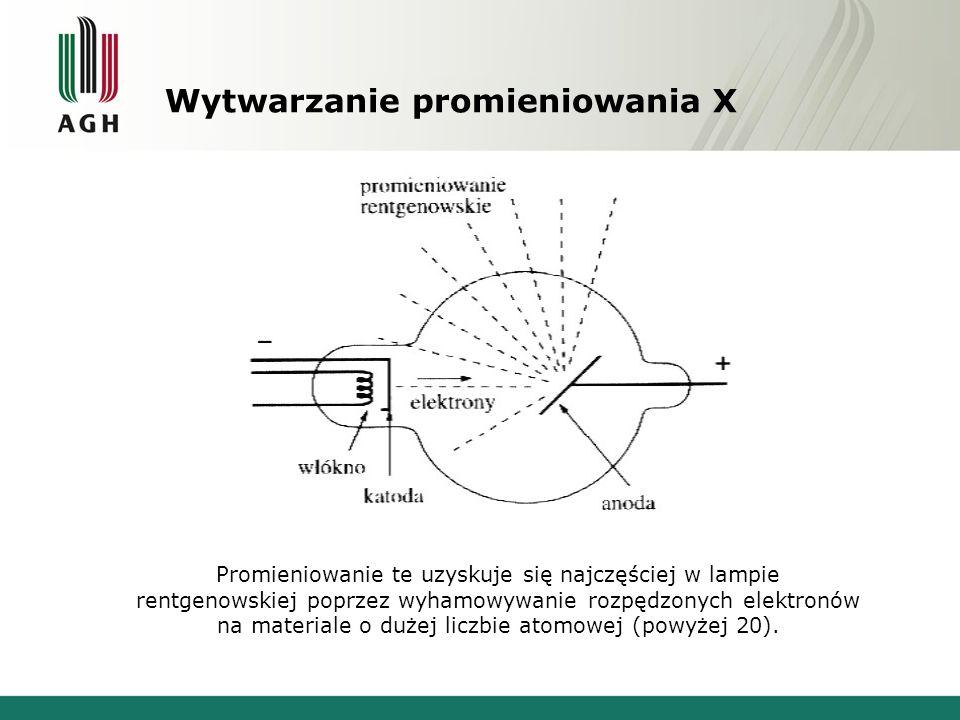Wytwarzanie promieniowania X Promieniowanie te uzyskuje się najczęściej w lampie rentgenowskiej poprzez wyhamowywanie rozpędzonych elektronów na mater