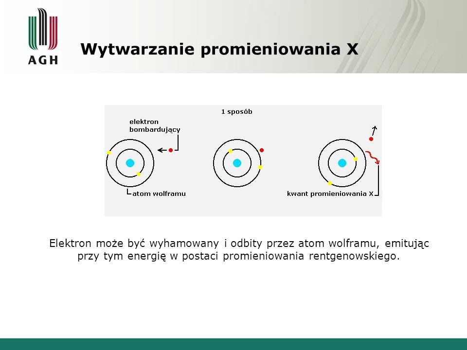 Wytwarzanie promieniowania X Elektron może być wyhamowany i odbity przez atom wolframu, emitując przy tym energię w postaci promieniowania rentgenowsk