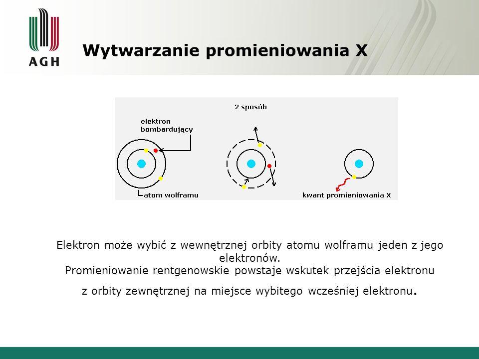 Wytwarzanie promieniowania X Elektron może wybić z wewnętrznej orbity atomu wolframu jeden z jego elektronów. Promieniowanie rentgenowskie powstaje ws