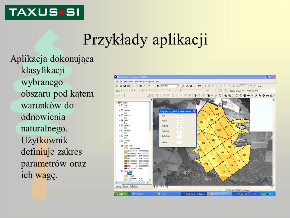 Przykłady aplikacji Aplikacja dokonująca klasyfikacji wybranego obszaru pod kątem warunków do odnowienia naturalnego.