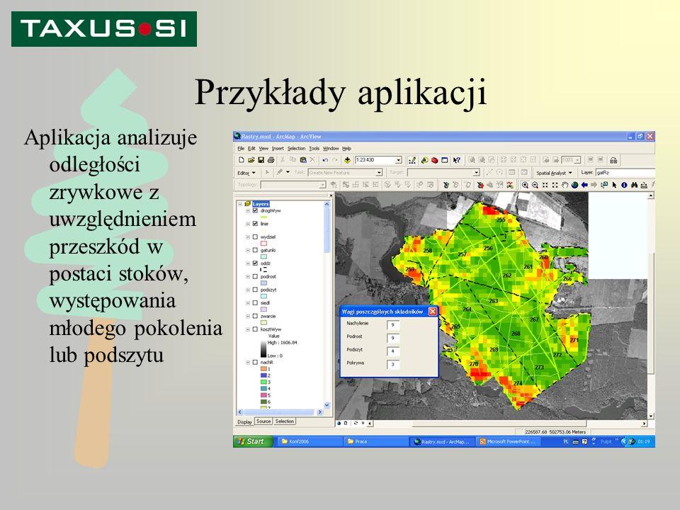 Przykłady aplikacji Aplikacja analizuje odległości zrywkowe z uwzględnieniem przeszkód w postaci stoków, występowania młodego pokolenia lub podszytu