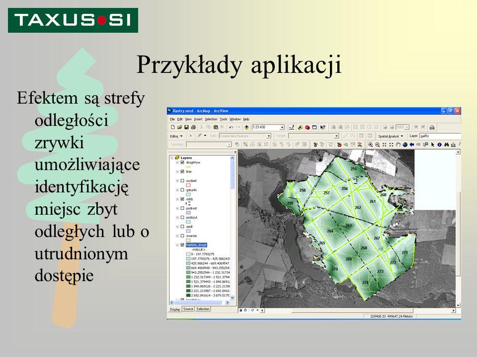 Przykłady aplikacji Efektem są strefy odległości zrywki umożliwiające identyfikację miejsc zbyt odległych lub o utrudnionym dostępie