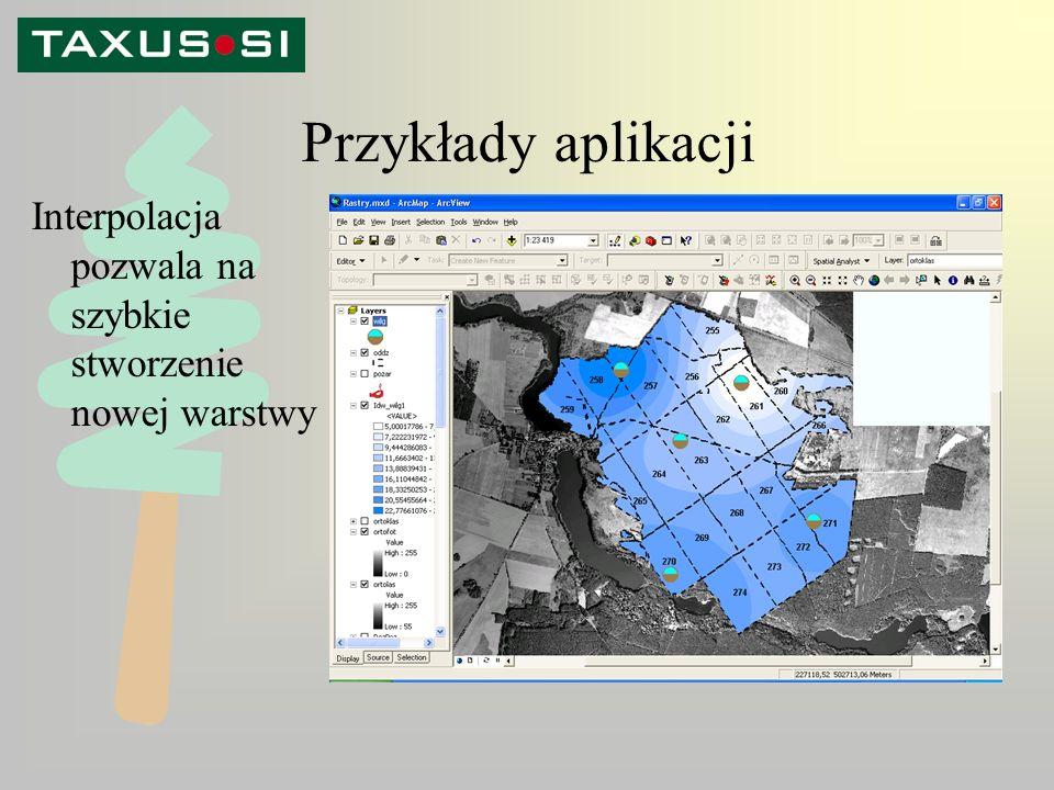 Przykłady aplikacji Interpolacja pozwala na szybkie stworzenie nowej warstwy