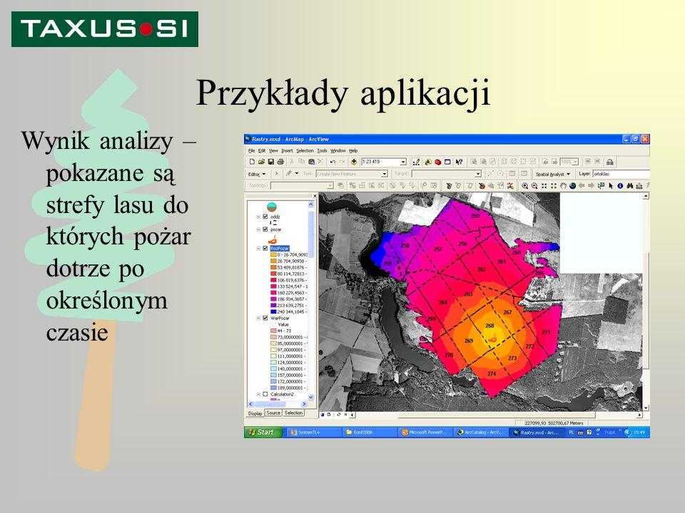 Przykłady aplikacji Wynik analizy – pokazane są strefy lasu do których pożar dotrze po określonym czasie