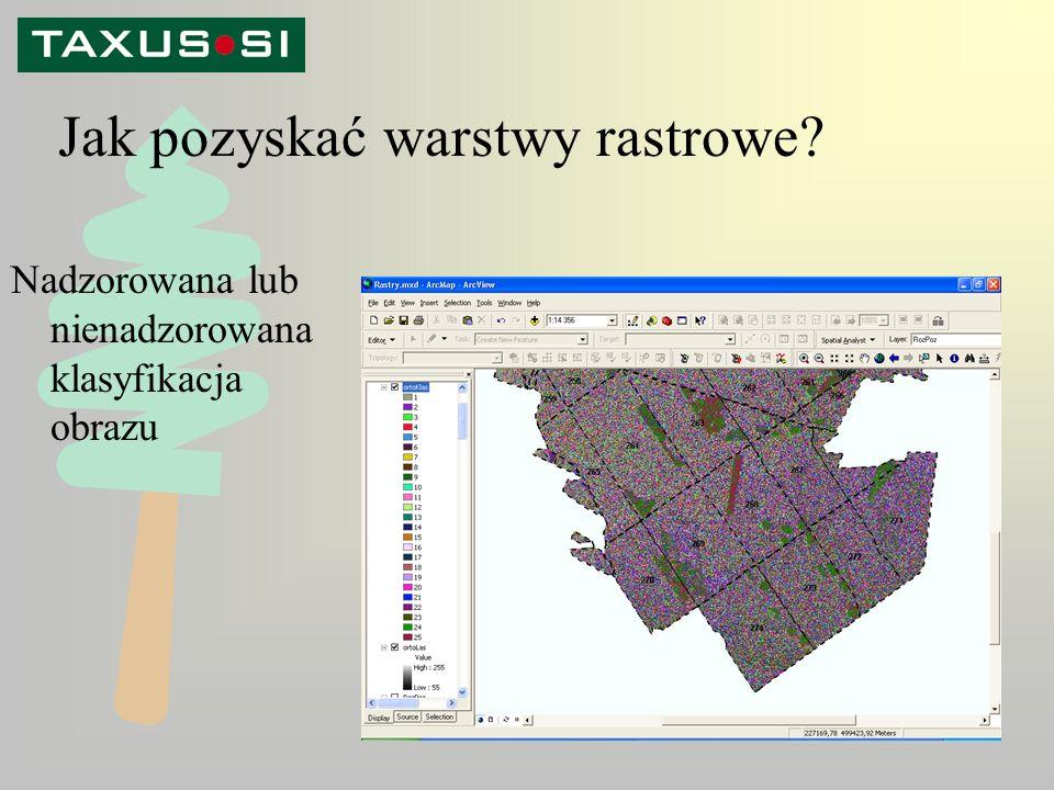 Jak pozyskać warstwy rastrowe Nadzorowana lub nienadzorowana klasyfikacja obrazu