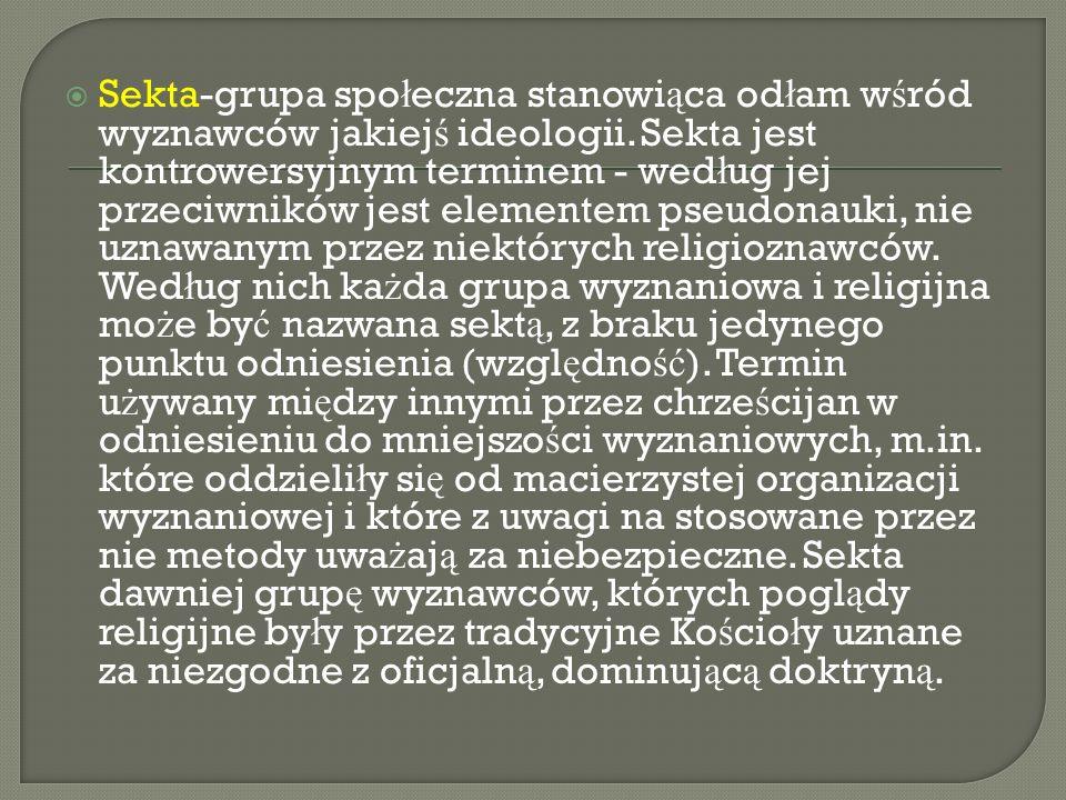 Sekta-grupa spo ł eczna stanowi ą ca od ł am w ś ród wyznawców jakiej ś ideologii.