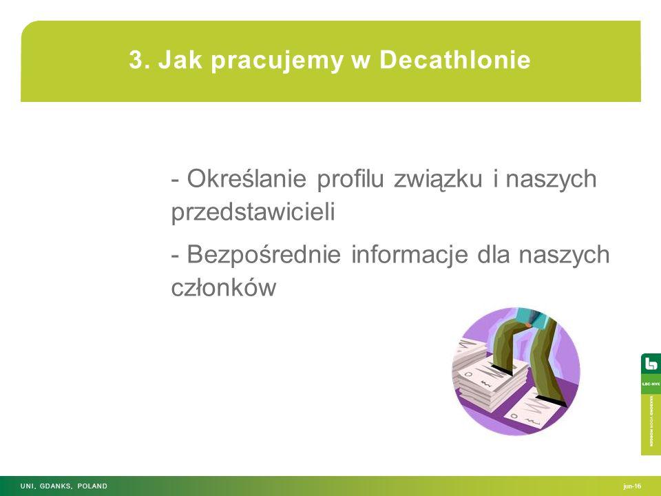 3. Jak pracujemy w Decathlonie - Określanie profilu związku i naszych przedstawicieli - Bezpośrednie informacje dla naszych członków jun-16UNI, GDANKS