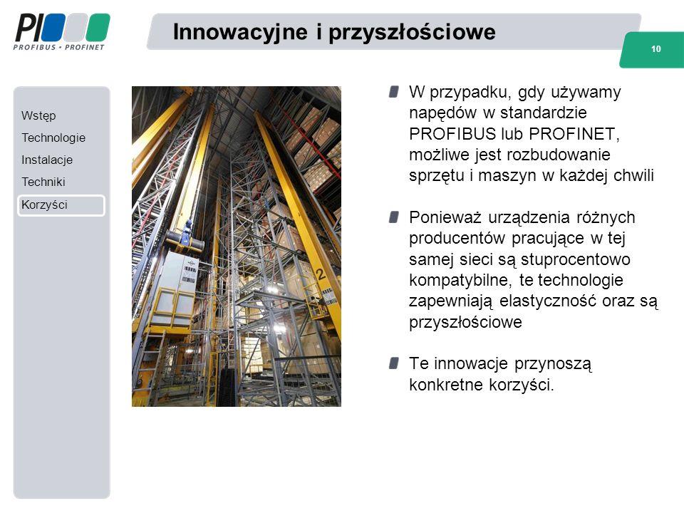 Wstęp Technologie Instalacje Techniki Korzyści 10 Innowacyjne i przyszłościowe W przypadku, gdy używamy napędów w standardzie PROFIBUS lub PROFINET, m