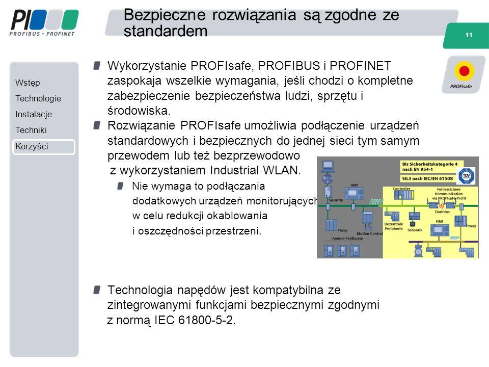 Wstęp Technologie Instalacje Techniki Korzyści 11 Bezpieczne rozwiązania są zgodne ze standardem Wykorzystanie PROFIsafe, PROFIBUS i PROFINET zaspokaj