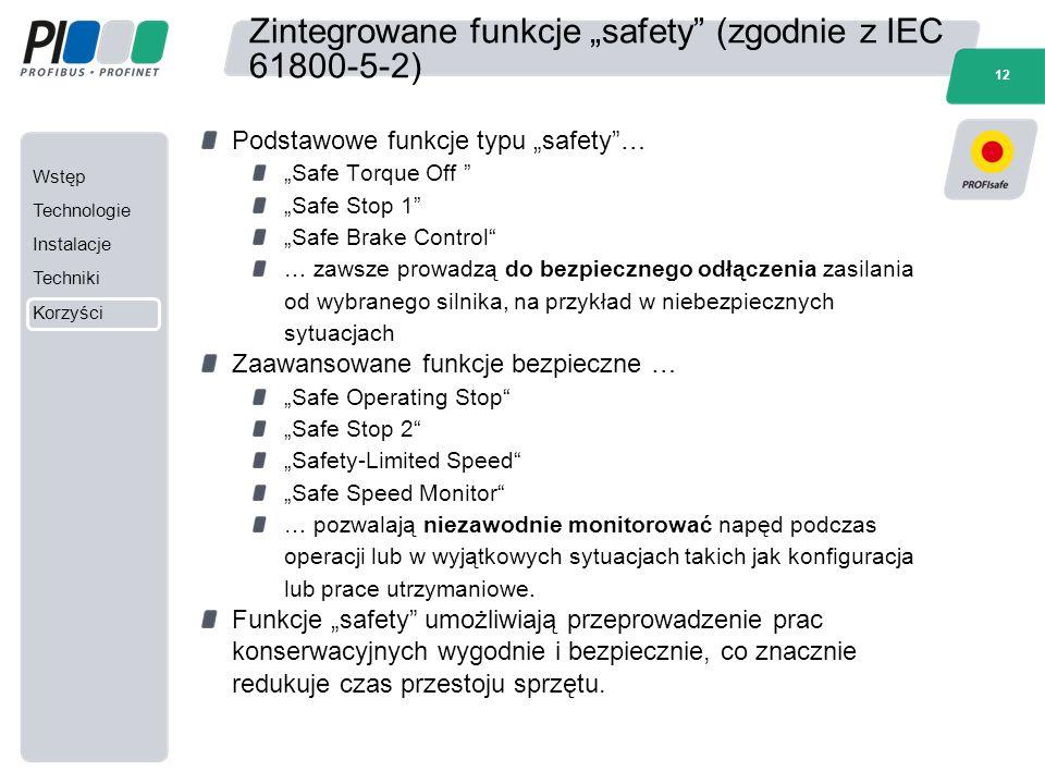 """Wstęp Technologie Instalacje Techniki Korzyści 12 Zintegrowane funkcje """"safety"""" (zgodnie z IEC 61800-5-2) Podstawowe funkcje typu """"safety""""… """"Safe Torq"""