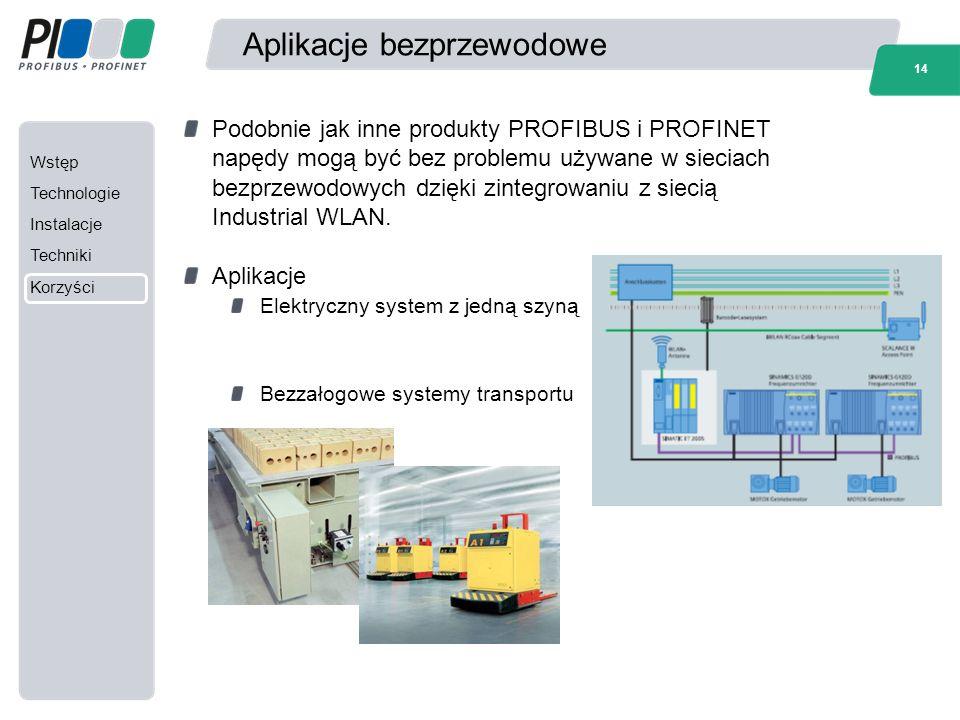 Wstęp Technologie Instalacje Techniki Korzyści 14 Aplikacje bezprzewodowe Podobnie jak inne produkty PROFIBUS i PROFINET napędy mogą być bez problemu