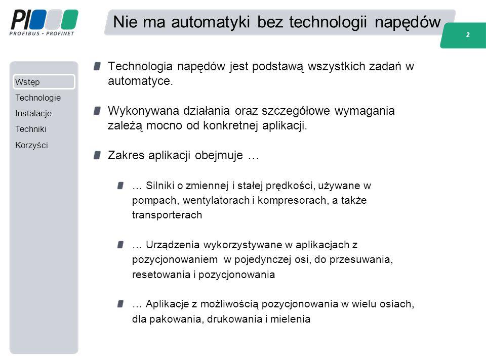 Wstęp Technologie Instalacje Techniki Korzyści 2 Nie ma automatyki bez technologii napędów Technologia napędów jest podstawą wszystkich zadań w automa