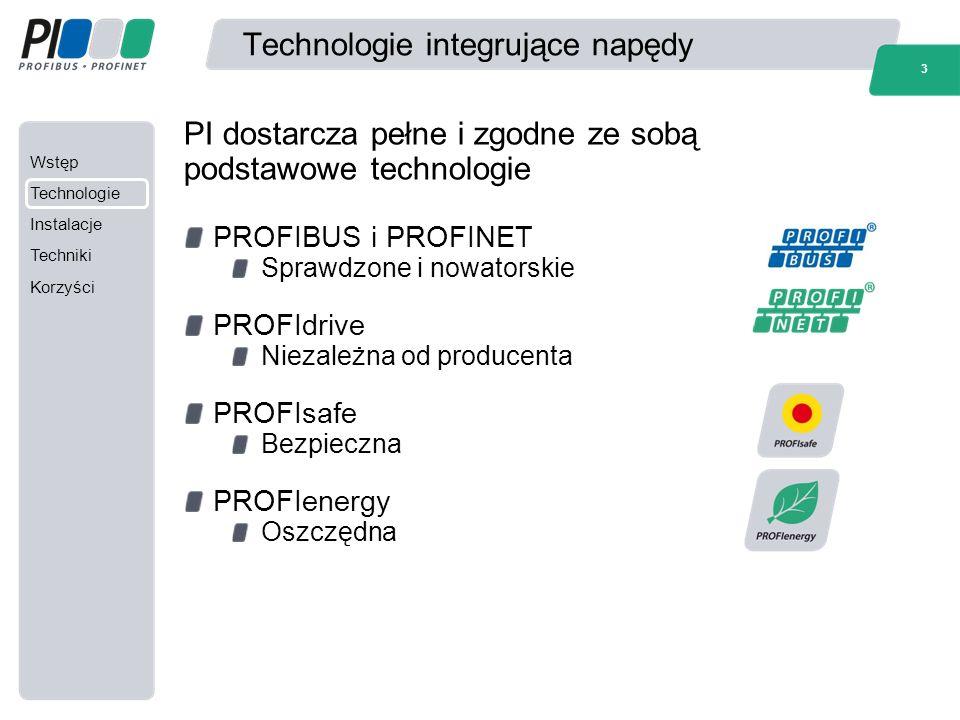 Wstęp Technologie Instalacje Techniki Korzyści 3 Technologie integrujące napędy PROFIBUS i PROFINET Sprawdzone i nowatorskie PROFIdrive Niezależna od