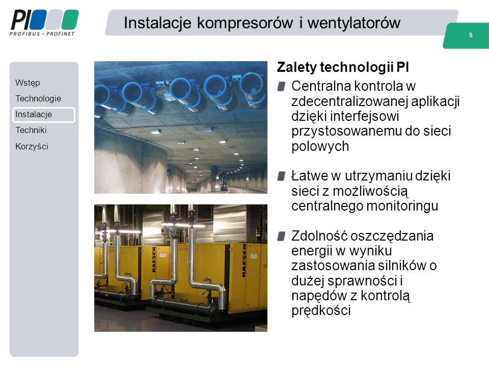 Wstęp Technologie Instalacje Techniki Korzyści 5 Instalacje kompresorów i wentylatorów Centralna kontrola w zdecentralizowanej aplikacji dzięki interf