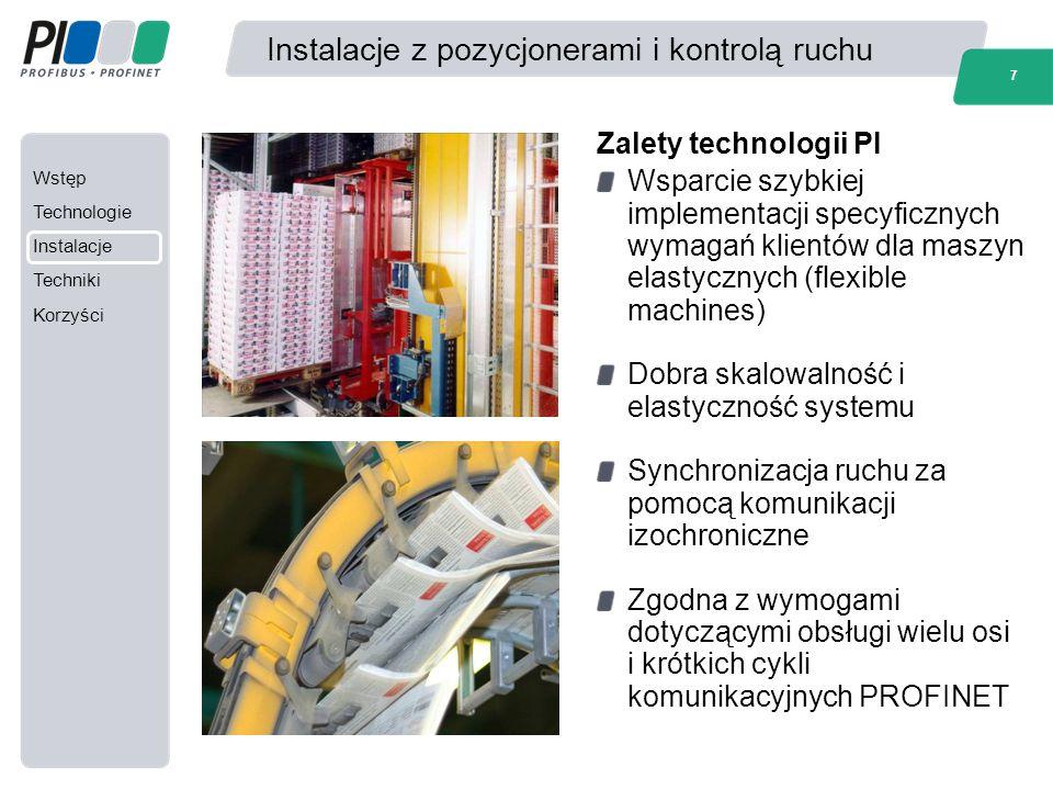 Wstęp Technologie Instalacje Techniki Korzyści 7 Instalacje z pozycjonerami i kontrolą ruchu Wsparcie szybkiej implementacji specyficznych wymagań kli