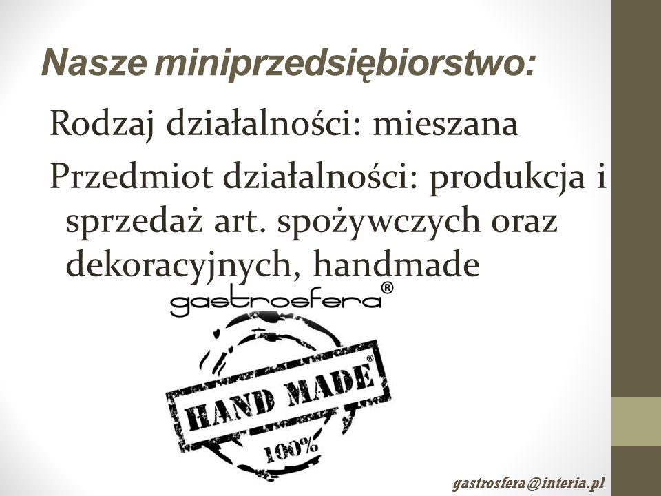 Nasze miniprzedsiębiorstwo: Rodzaj działalności: mieszana Przedmiot działalności: produkcja i sprzedaż art. spożywczych oraz dekoracyjnych, handmade g