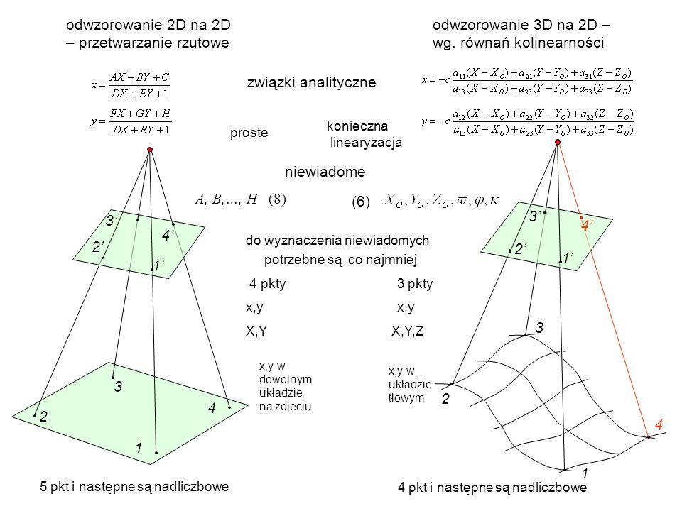 odwzorowanie 2D na 2D – przetwarzanie rzutowe odwzorowanie 3D na 2D – wg.