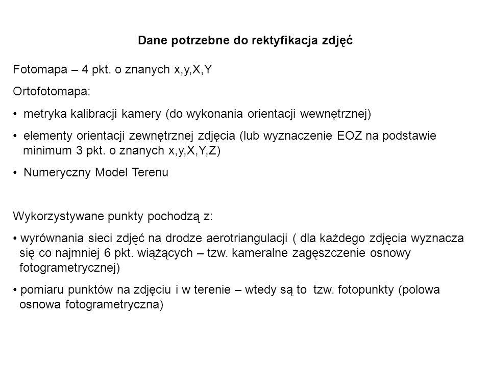 Dane potrzebne do rektyfikacja zdjęć Fotomapa – 4 pkt.