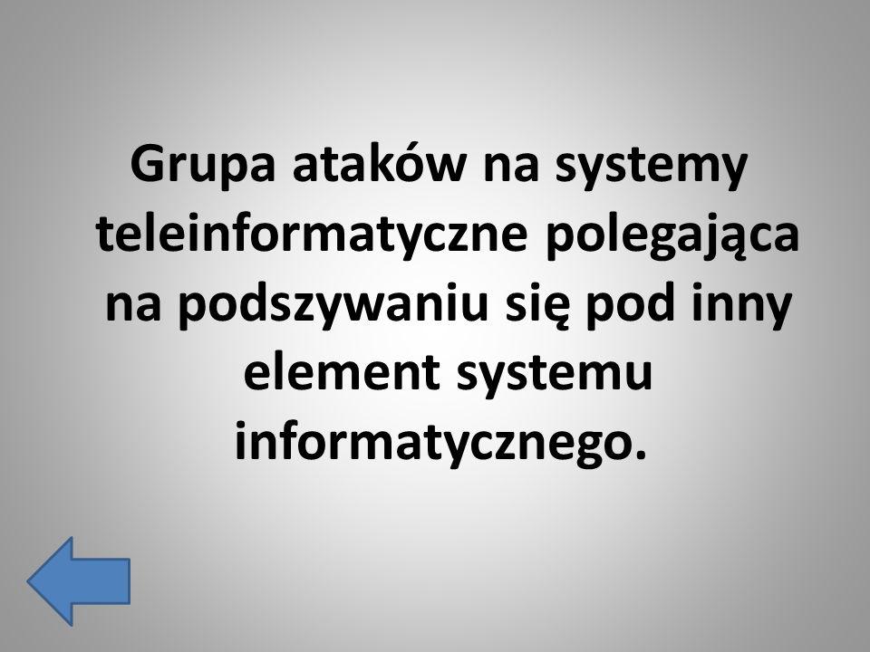 Grupa ataków na systemy teleinformatyczne polegająca na podszywaniu się pod inny element systemu informatycznego.