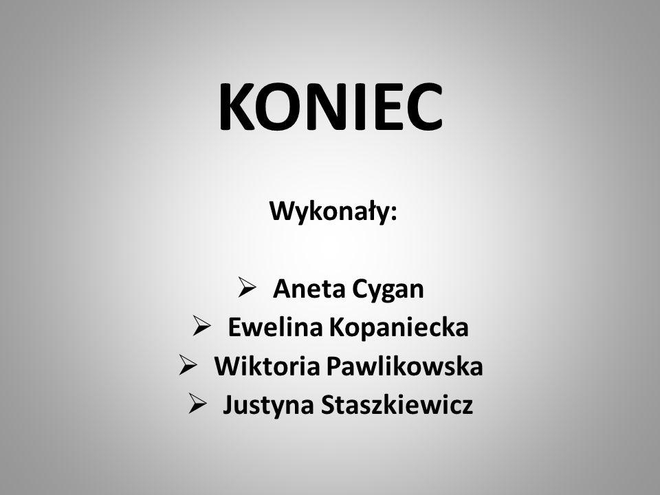 KONIEC Wykonały:  Aneta Cygan  Ewelina Kopaniecka  Wiktoria Pawlikowska  Justyna Staszkiewicz
