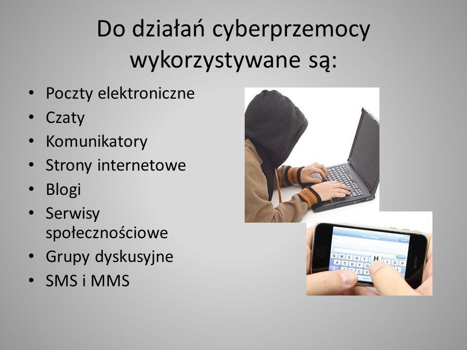 Do działań cyberprzemocy wykorzystywane są: Poczty elektroniczne Czaty Komunikatory Strony internetowe Blogi Serwisy społecznościowe Grupy dyskusyjne