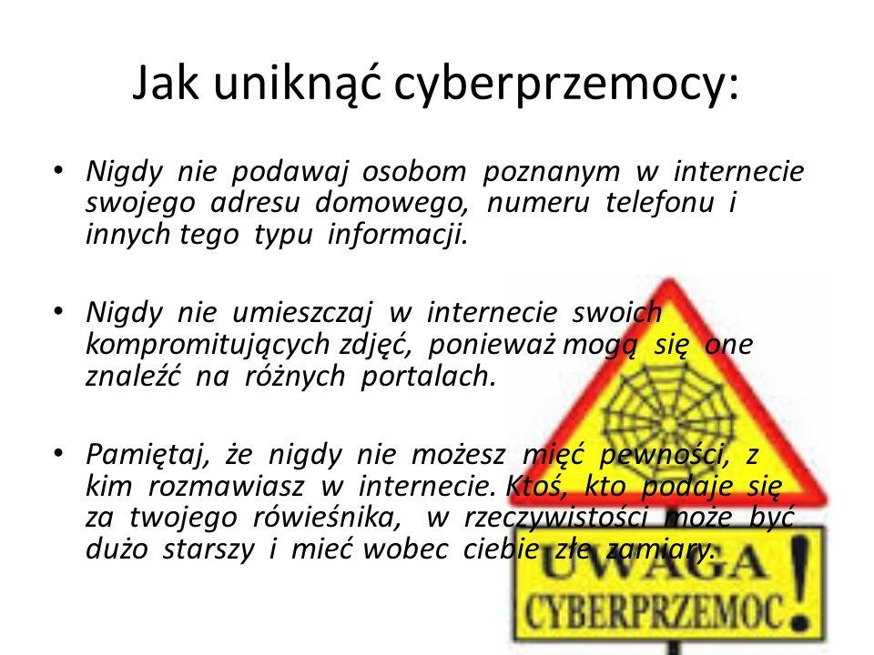 Jak uniknąć cyberprzemocy: Nigdy nie podawaj osobom poznanym w internecie swojego adresu domowego, numeru telefonu i innych tego typu informacji. Nigd