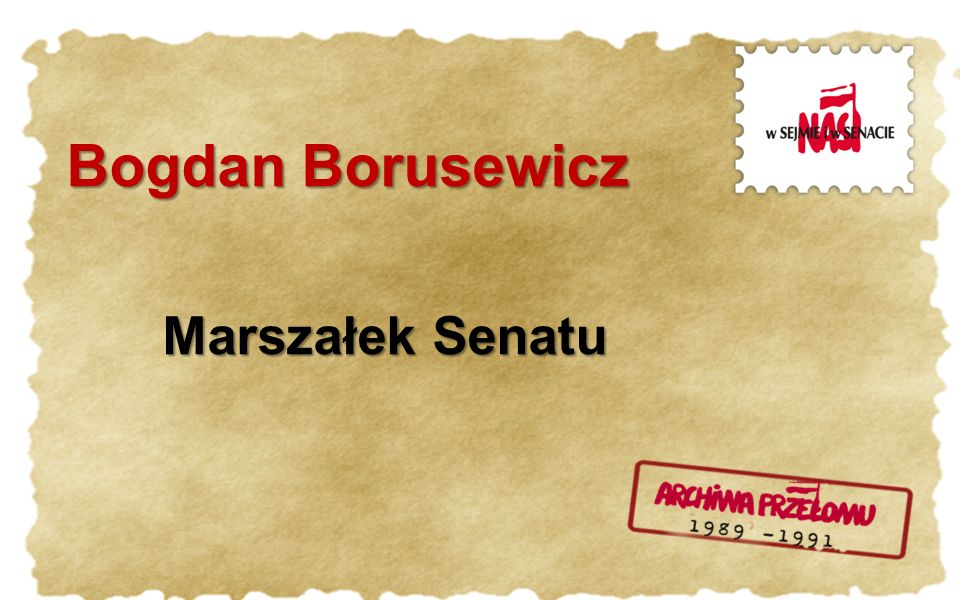 Bogdan Borusewicz Marszałek Senatu
