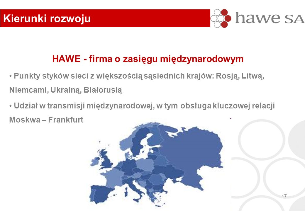 HAWE - firma o zasięgu międzynarodowym Punkty styków sieci z większością sąsiednich krajów: Rosją, Litwą, Niemcami, Ukrainą, Białorusią Udział w transmisji międzynarodowej, w tym obsługa kluczowej relacji Moskwa – Frankfurt 17 Kierunki rozwoju 17