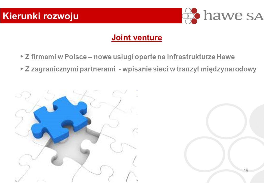 Joint venture Z firmami w Polsce – nowe usługi oparte na infrastrukturze Hawe Z zagranicznymi partnerami - wpisanie sieci w tranzyt międzynarodowy 19