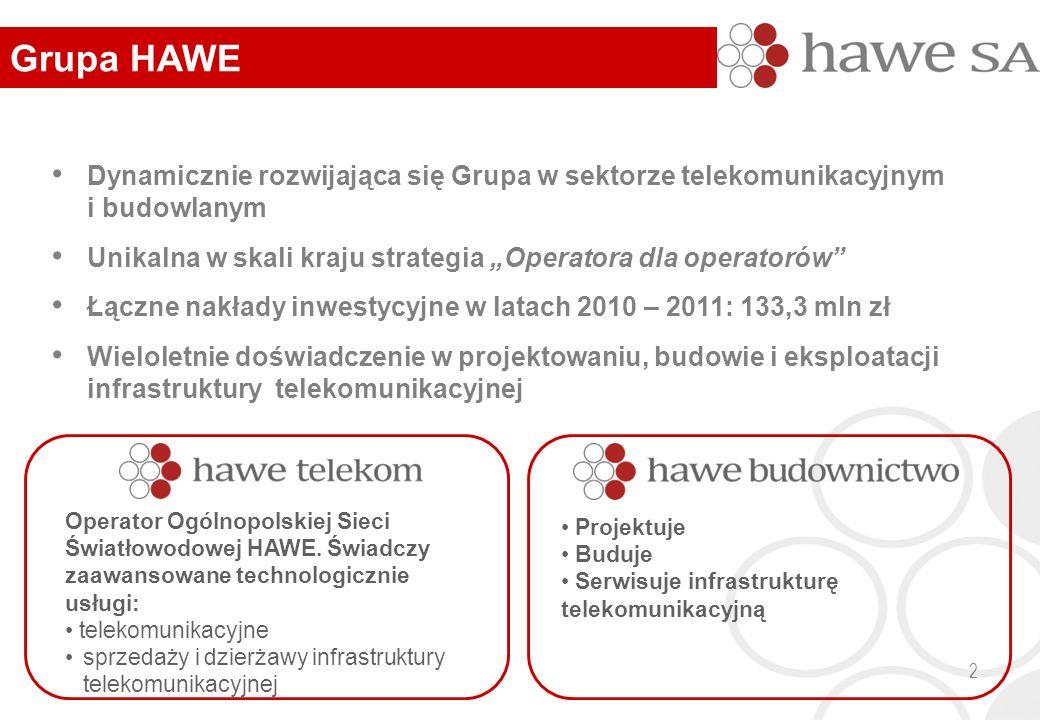 """2 Dynamicznie rozwijająca się Grupa w sektorze telekomunikacyjnym i budowlanym Unikalna w skali kraju strategia """"Operatora dla operatorów"""" Łączne nakł"""