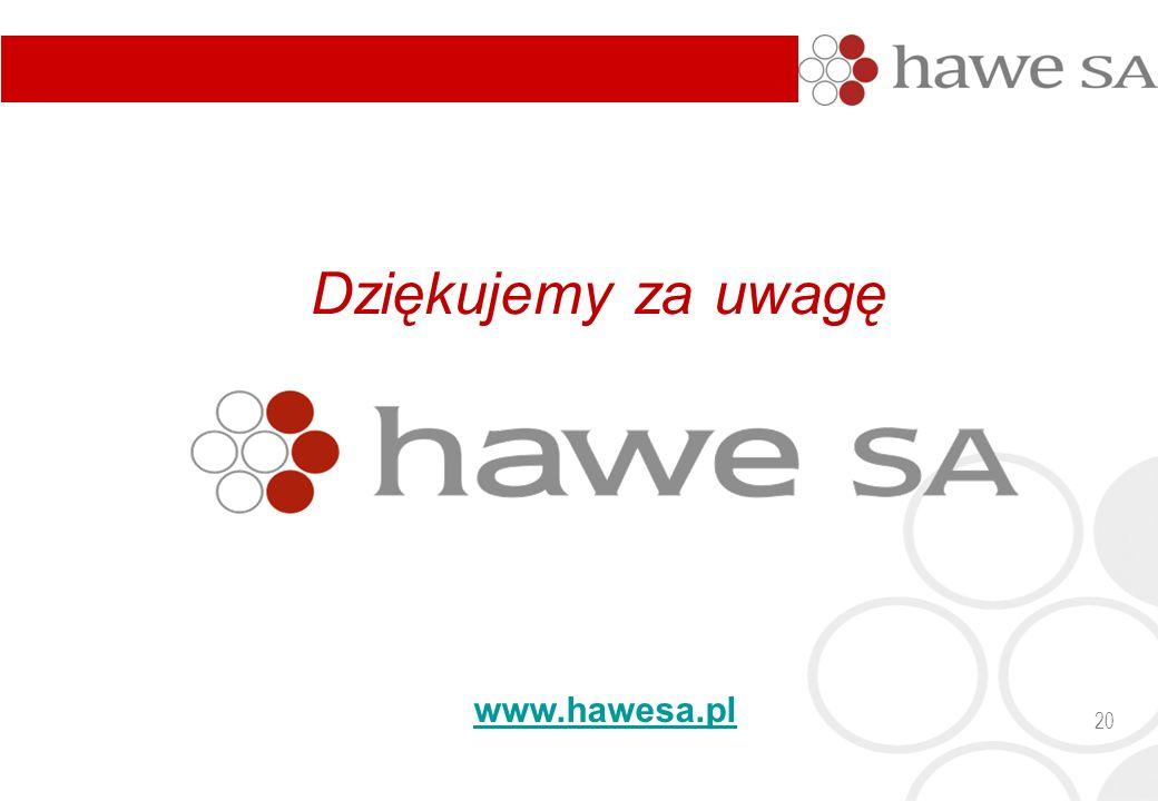 20 Dziękujemy za uwagę www.hawesa.pl