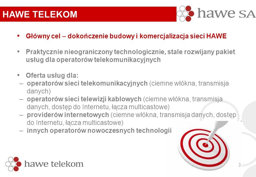 Główny cel – dokończenie budowy i komercjalizacja sieci HAWE Praktycznie nieograniczony technologicznie, stale rozwijany pakiet usług dla operatorów telekomunikacyjnych Oferta usług dla: –operatorów sieci telekomunikacyjnych (ciemne włókna, transmisja danych) –operatorów sieci telewizji kablowych (ciemne włókna, transmisja danych, dostęp do Internetu, łącza multicastowe) –providerów internetowych (ciemne włókna, transmisja danych, dostęp do Internetu, łącza multicastowe) –innych operatorów nowoczesnych technologii HAWE TELEKOM 3