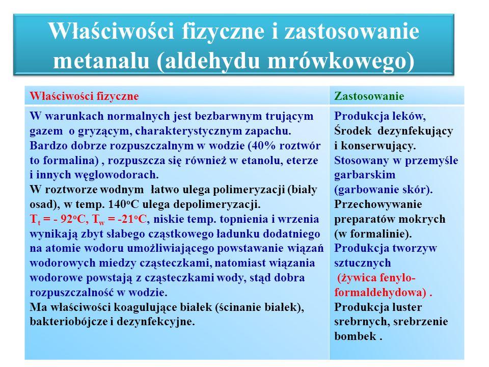 Właściwości fizyczne i zastosowanie metanalu (aldehydu mrówkowego) Właściwości fizyczneZastosowanie W warunkach normalnych jest bezbarwnym trującym ga