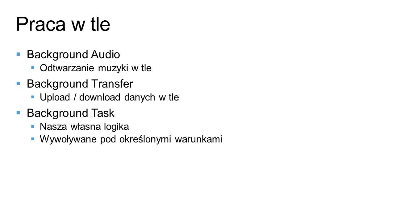  Background Audio  Odtwarzanie muzyki w tle  Background Transfer  Upload / download danych w tle  Background Task  Nasza własna logika  Wywoływane pod określonymi warunkami Praca w tle
