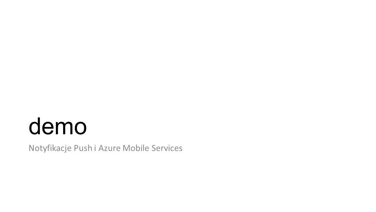 demo Notyfikacje Push i Azure Mobile Services