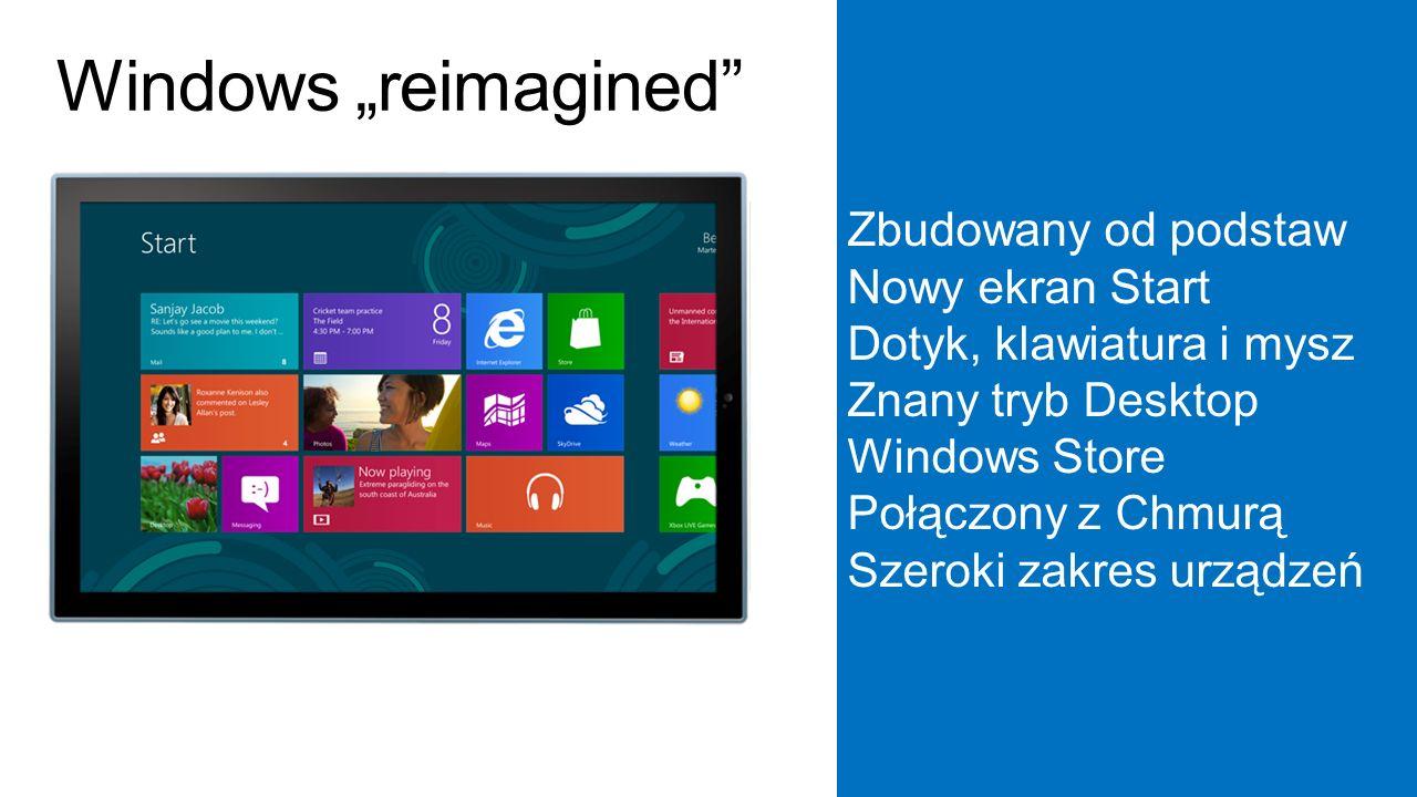 """Zbudowany od podstaw Nowy ekran Start Dotyk, klawiatura i mysz Znany tryb Desktop Windows Store Połączony z Chmurą Szeroki zakres urządzeń Windows """"reimagined"""
