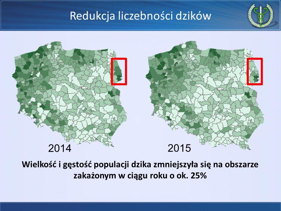 2014 2015 Wielkość i gęstość populacji dzika zmniejszyła się na obszarze zakażonym w ciągu roku o ok.