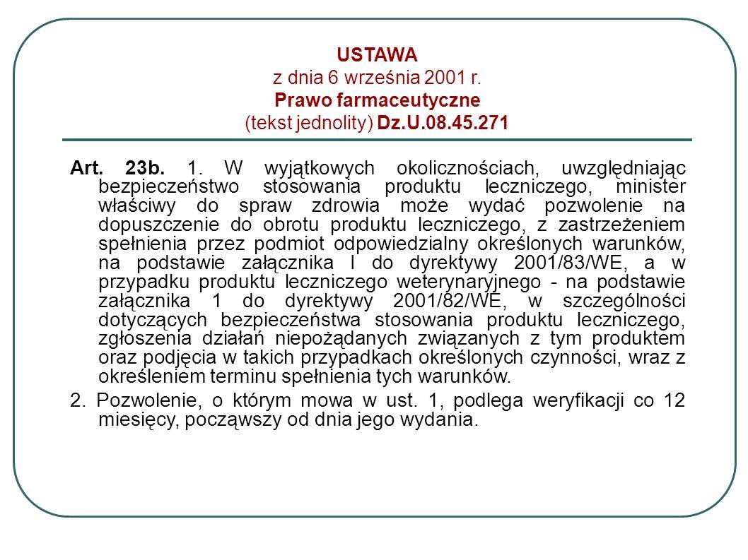 USTAWA z dnia 6 września 2001 r. Prawo farmaceutyczne (tekst jednolity) Dz.U.08.45.271 Art. 23b. 1. W wyjątkowych okolicznościach, uwzględniając bezpi
